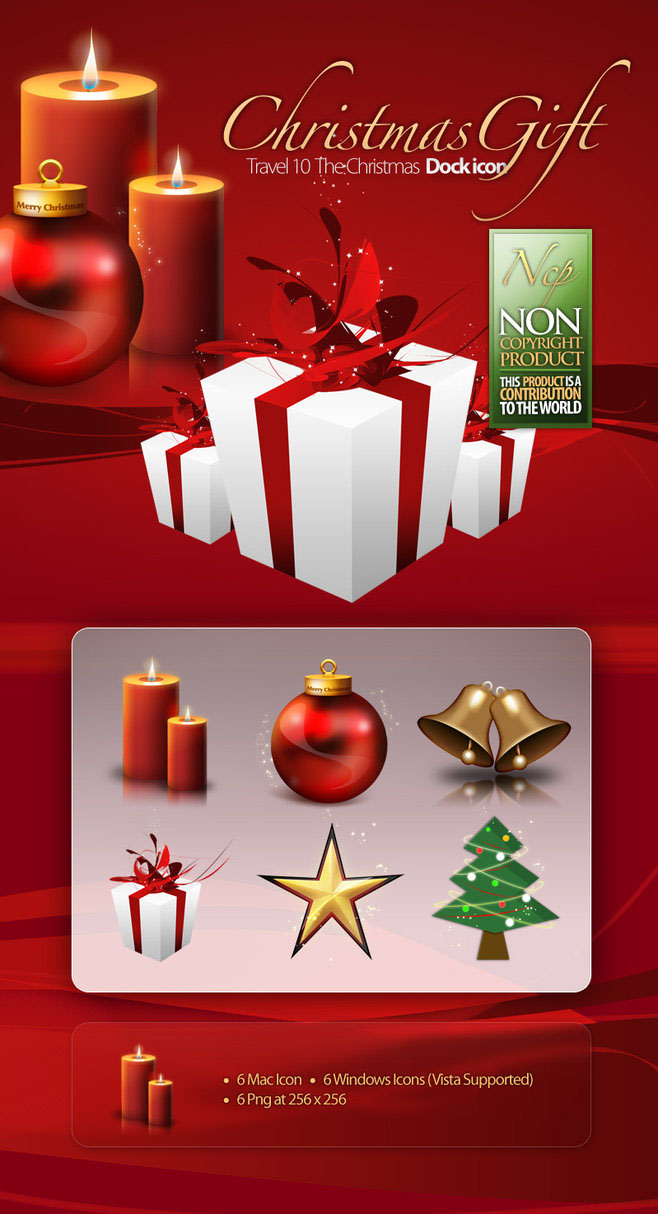 Christmas Gift Icon   Balls Candle tree star