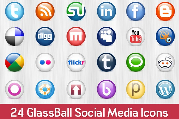 Glossy Round social icons