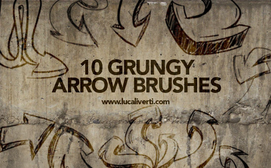Grungy arrow brushes set