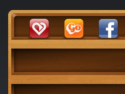 Shelf PSD with icons