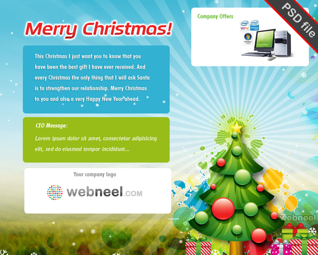 Free Business Christmas Greeting Card Template PSD