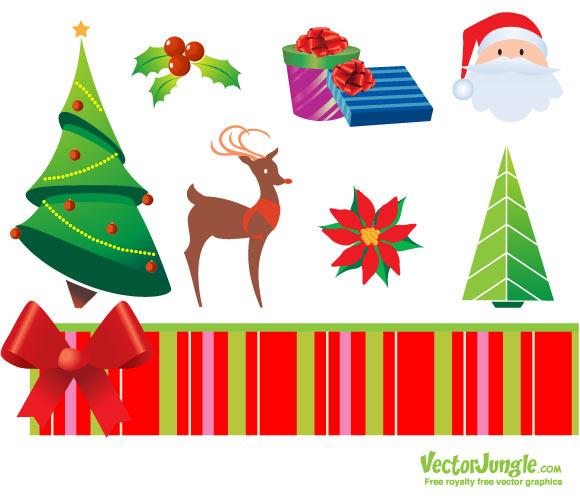 Royalty Free Christmas Vector Pack   Tree, Santa, deer, ribbon, gift   EPS