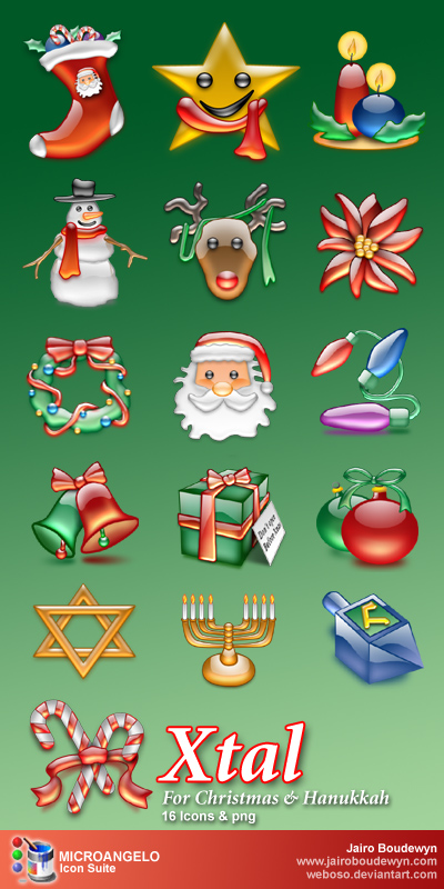 Shinning Christmas Icon set  16 Icons PNG ICO