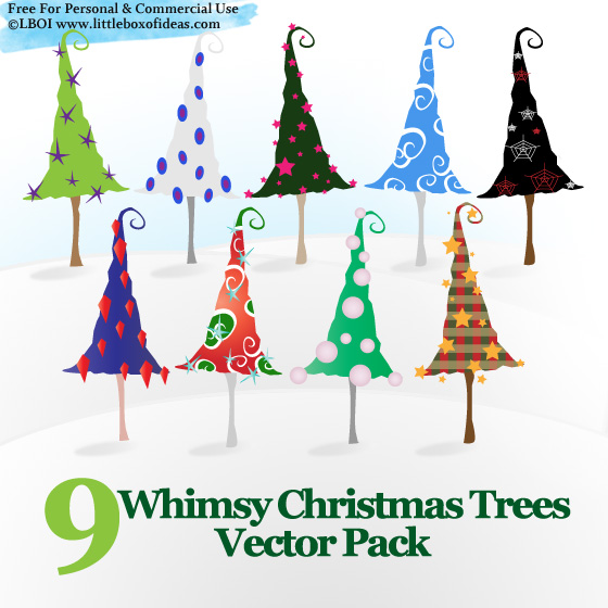 9 Whimsy Christmas Trees vector Pack EPS