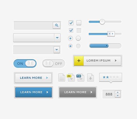 Sleek UI Elements PSD