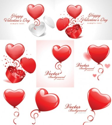 valentine day vector   red hot air balloon