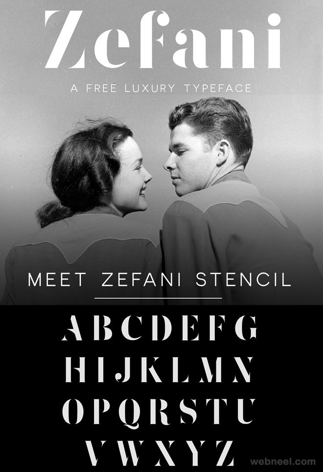 Zefani - free font by Andrew Herndon ( 50 Royalty free fonts for designers )