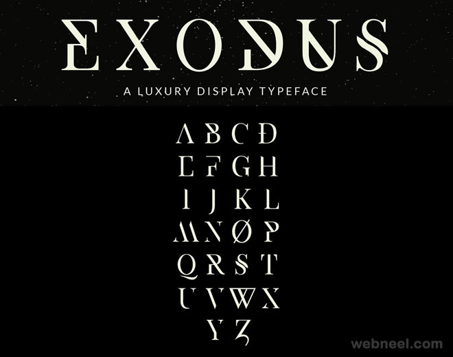 Exodus - free font by Andrew Herndon ( 50 Royalty free fonts for designers )