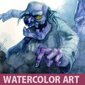 Zombies on the Prowl - Watercolor Painting for Children Book by Neil Gaiman