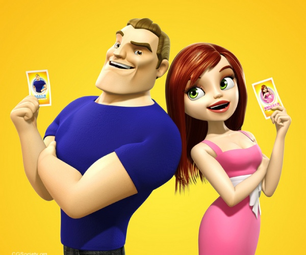 3d character design battle of the sexes card game