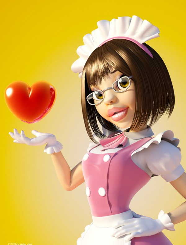 3d character design maid with love