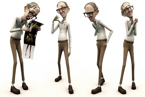 3d character design office nerd