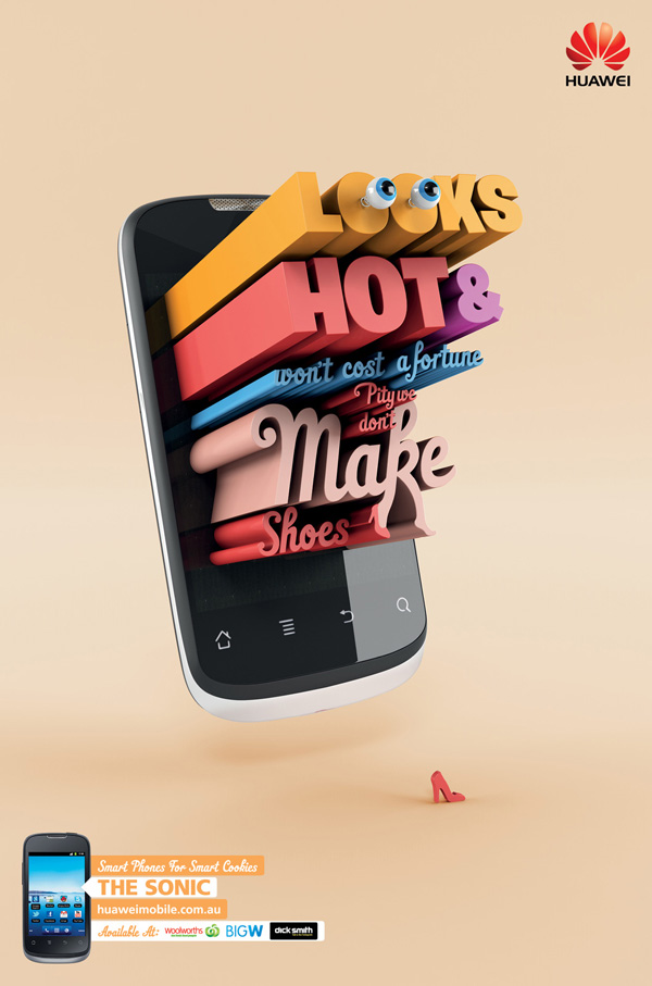 3d typography ads by arnold