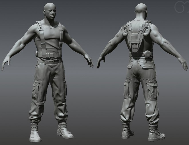 3d man model character wip full view
