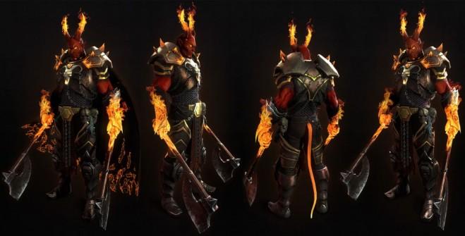 3d model demon warrior fire monster