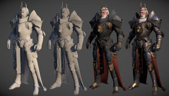 3d model warrior king fighter wip