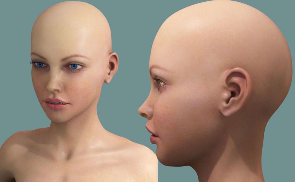 3d model woman girl face wip render