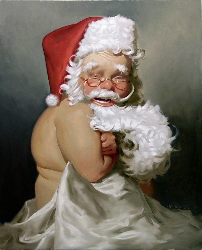 paintings illustration caricature Daniel-Adel-Sexy Santa V Fair Christmas Card