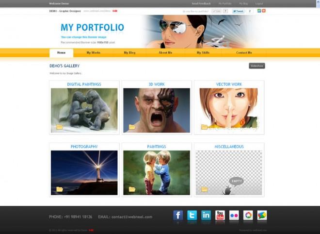 free portfolio home page of webneel.com