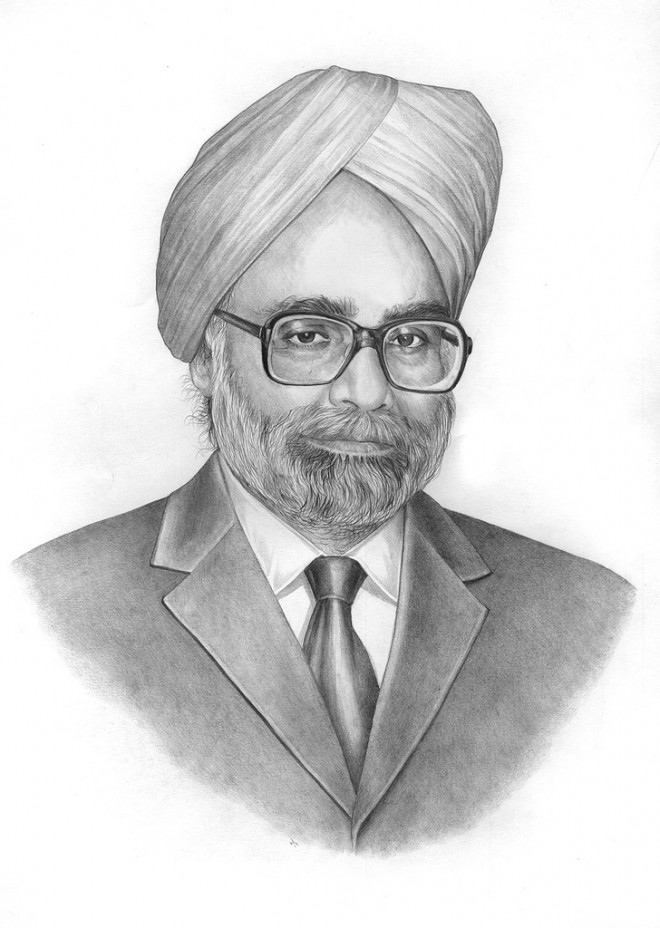 manmohan singh pencil drawing