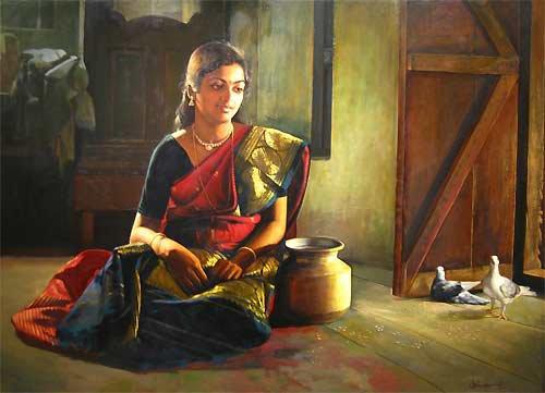 paintings of rural indian women oil painting 14