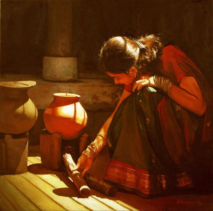 Paintings of rural indian women   Oil painting (3)
