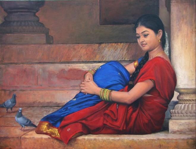 paintings of rural indian women oil painting 4