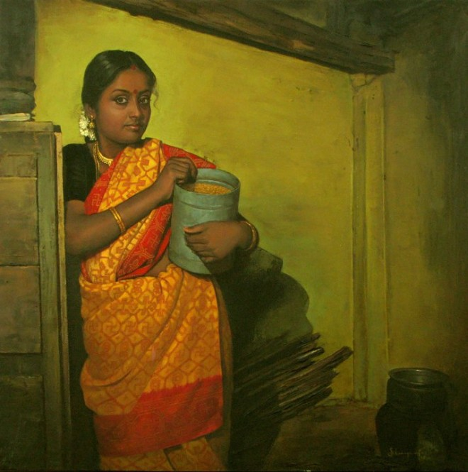 paintings of rural indian women oil painting 7