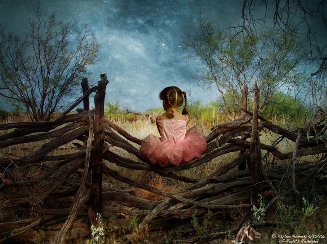 wonderful digital painting child enjoying the scenery