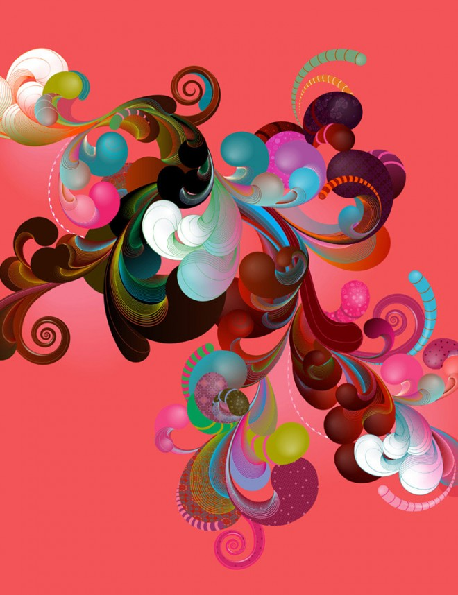 colors collage floral design