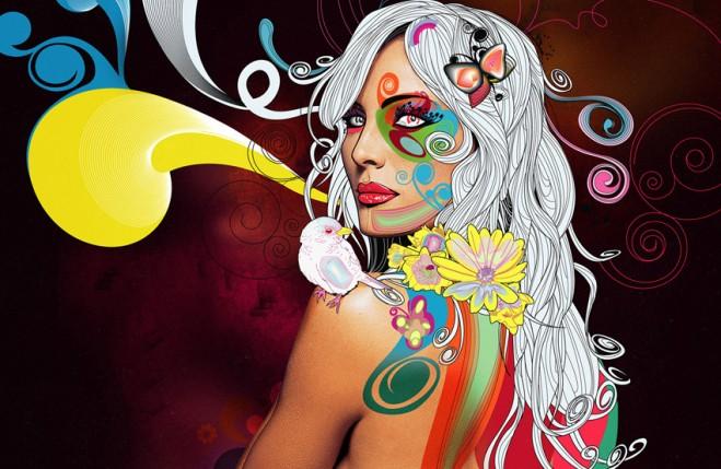 colors collage floral design 4