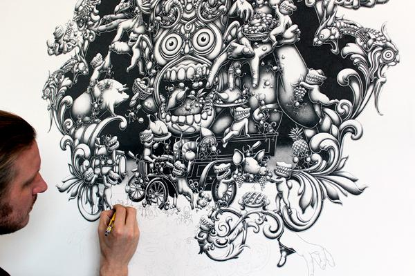 mural mega drawings joe fenton solitude