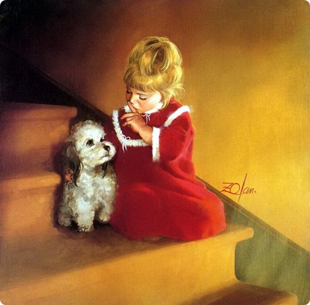 painting child and pet