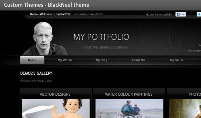black theme you can change your portfolio theme