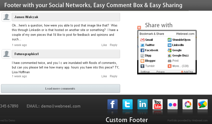 add your social network links in the footer