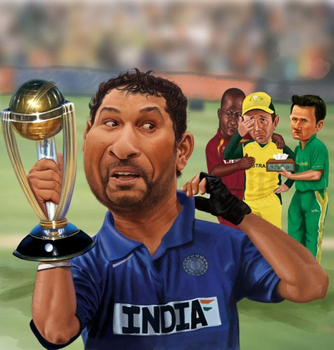 world cup 2011 with sachin tendulcar digital painting