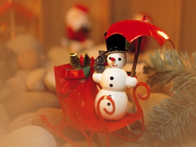 snowman sledge desktop wallpaper
