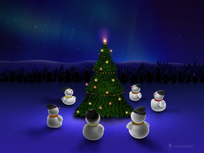 snowmans christmas night