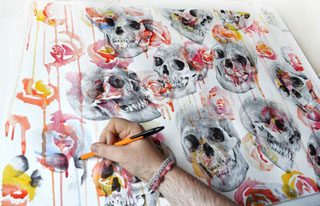 Painting - Skulls and flowers by Paul Alexander