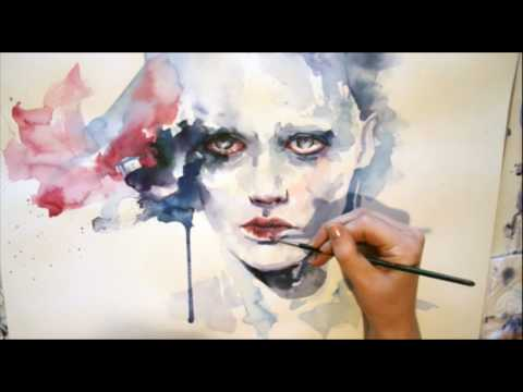 Beatuiful Portrait in watercolor - Speed painting video
