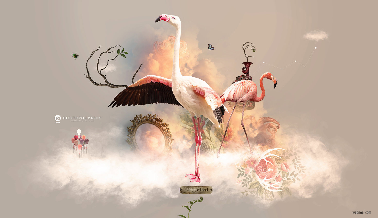 flamingo photo manipulation wallpaper photoshop by stellart