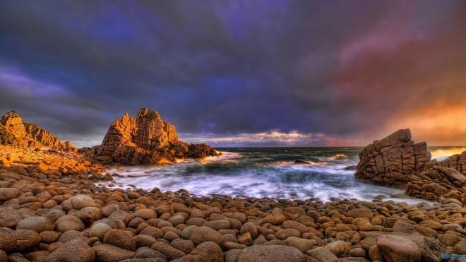 evening ocean coast wallpaper