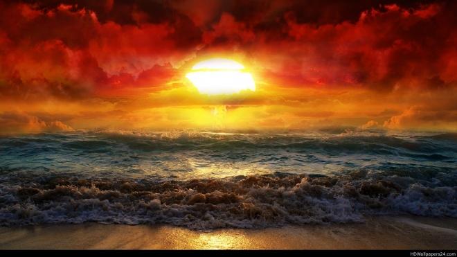 sunrise beach sand wallpaper