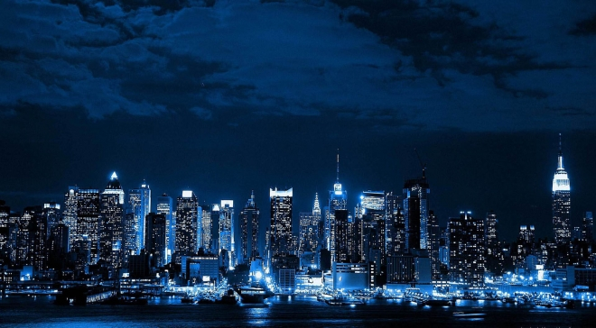 blue wallpaper neon cityscape