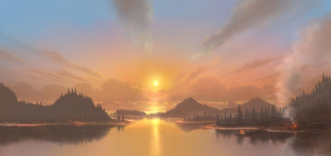 sunset digital art by feliks wallpaper