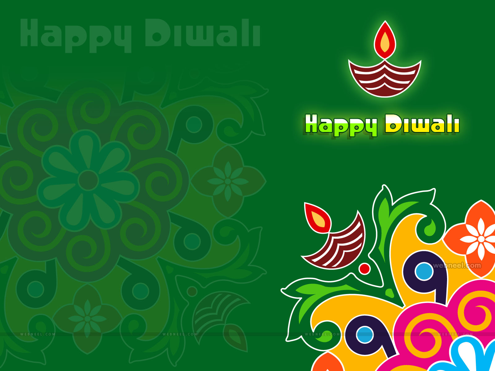 rangoli diya diwali wallpaper design by webneel