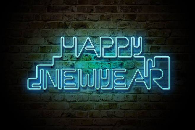 happy new year neon light wallpaper