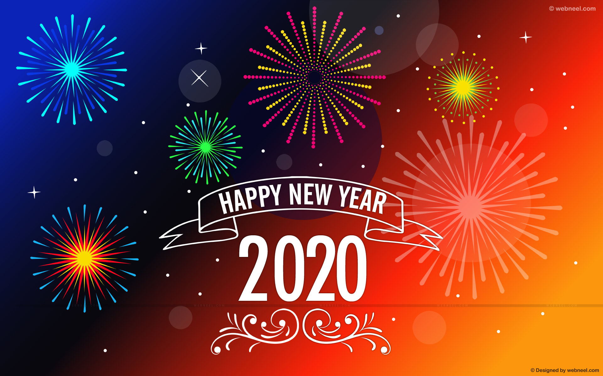 new year wallpaper fireworks vector