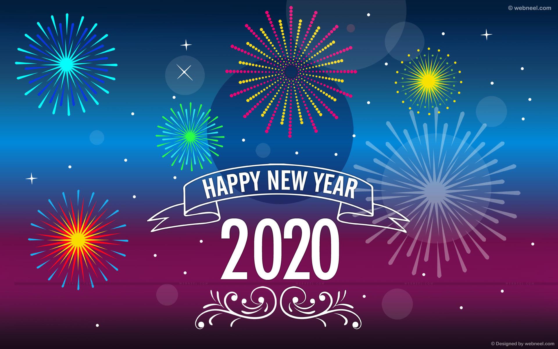 new year wallpaper night fireworks